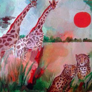 Africa con giraffe e ghepardi - Acrilici - 30x21cm