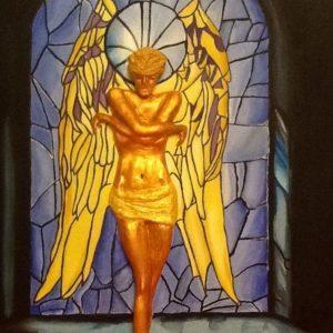 Angelo in vetrina, 60x80 cm, tecnica mista