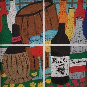 Barricati in cantina - Acrilico collage su legno - 34x34cm