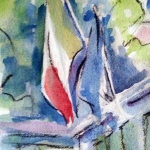 Bandiere al vento - 30x40cm - Acquerello