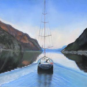 Certificazione del Coefficiente artistico di Anna Carignani - Barca a vela nei fiordi della Norvegia - Pastello - 71×51 cm