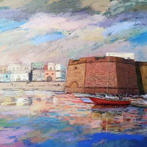 Castello a Gallipoli di Rosario Luigi Russo - Spatola su tela - 100x70cm