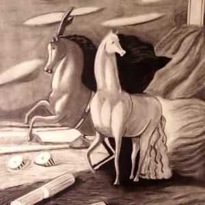 Cavalli sulla spiaggia (copia Giorgio De Chirico) - Carboncino su carta - 58x70cm