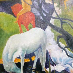 """""""Cavallo Bianco"""" da Gaugin - Olio su tela - 50x70cm"""