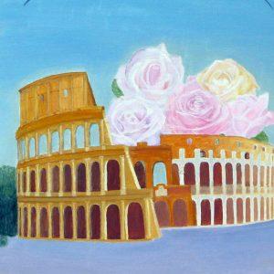 """L'intervista a Mariagrazia Omodeo """"Colosseo e rose"""" - Tecnica Olio - 60x70cm"""