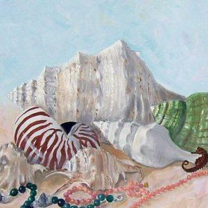 Conchiglie e collane - Olio - 70x50cm