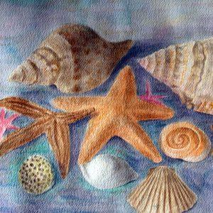 Conchiglie nel mare - Acquarello - 62x45cm