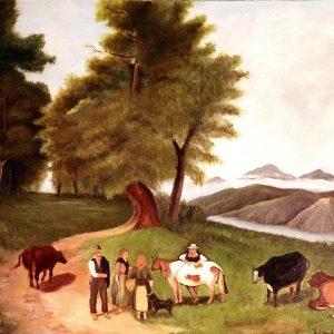 Contadini con bovini al pascolo di Fausto Candiotti - Olio su tela - 50x70cm