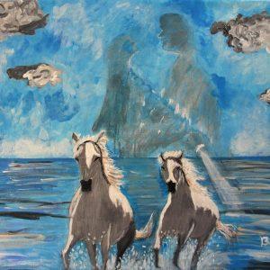 Coppia di cavalli - Acrilico - 60x50cm