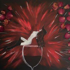 Dark Lady - Acrilico e petali di rosa su tela - 60x50cm