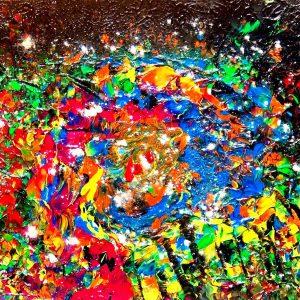 Dripping universe - 40x60cm Misto e acrilico su tela