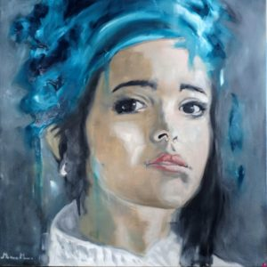Fanny with the pearl earring - Olio su pannello medio denso - 60x60px