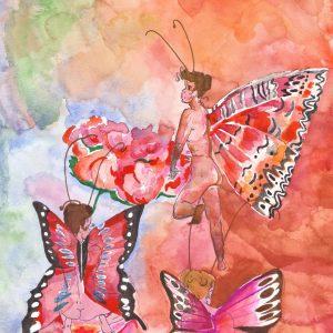 Farfalle tono su tono - Acquerelli - 21x29cm
