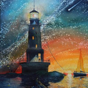 Faro - Verso la notte stellata - Acquerello su carta - 30x42cm