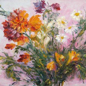 Coefficiente d'artista di Silvana Guerrieri - Fiori di campo gialli, bianchi e rossi - Olio su tela - 30x40cm