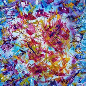 Fiori nel blu - Acrilico su tela - 40x50cm