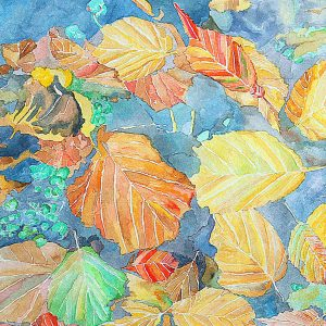 Il Coefficiente d'arte di Mauro Francesco Antonio Moledda - Foglie cadute in autunno - Acquarello su carta 300gr - 60x40cm