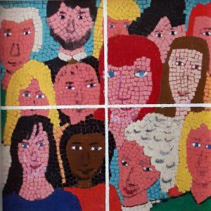 Foto di gruppo - Acrilico collage su legno - 34x34cm