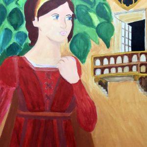 Coefficiente di valutazione dell'artista Francesca Granieri - Giulietta sul cortile che guarda il suo balcone - Acrilico - 50x60cm