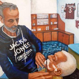 Il barbiere (Gigi e zio Eugenio) - Olio su tela - 50x40cm