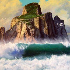 """Coefficiente ufficiale d'artista di Ferdinando Ragni - """"Il mare a Pan di Zucchero"""" - Olio su tela - 60x50cm"""