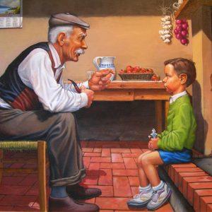 Il nonno racconta - Olio su tela - 100x80cm