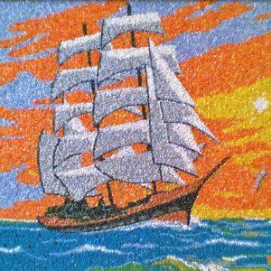 Il veliero - Mosaico - 81x61cm