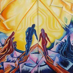 Coefficiente di valutazione artistica di Ursula Riccardi - La coppia - Olio su doppia tela con inserti in stoffa e cerniera - 120x80cm