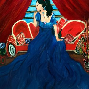 La dama Spocchiosa - Acrilico flitter glitter e swaroski su tela - 50x70cm