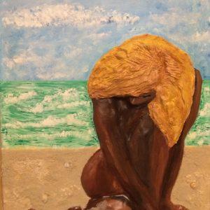 La donna e il mare, 60x80, tecnica mista basso rilievo