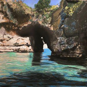 La grotta della Regina Giovanna al capo di Sorrento - Pastello - 71×51 cm