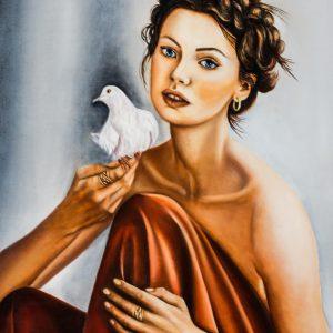 La portatrice di pace, olio su tela