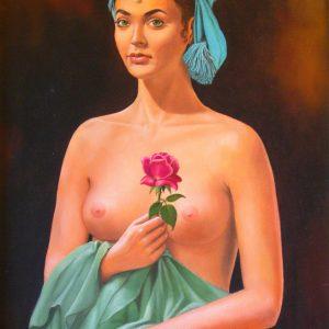 La ragazza con la rosa - Olio su tela - 50x70cm