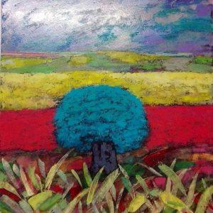 L'albero blu - Spatola su tela e olio - 60x80cm