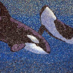 Il Coefficiente dell'artista Marco Palumbo, in arte PAMART - Le orche marine - Mosaico - 110x52cm
