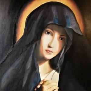 Madonna del seicento copiata da Sassoferrato -Olio su tela - 50×40 cm