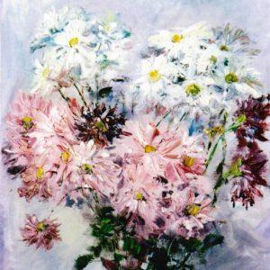 Margherite rosa, bianche e bordeaux - Olio su tela pennello e spatola - 40x50cm