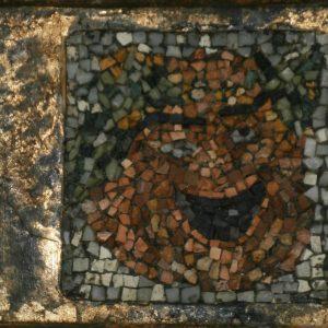 MASCHERA: soggetto di affresco arte greco-romana - DORATURA E MOSAICO in tecnica diretta - 30x14cm