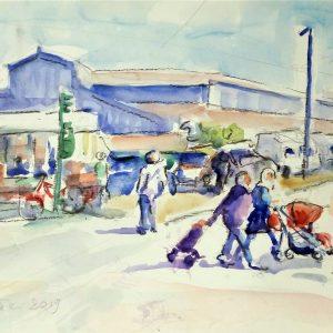 Revisione del Coefficiente d'Artista di Ambretta Rossi - Mattina al mercato - Acquerello - 50x40cm