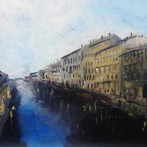Milano il naviglio, 30x24cm, olio su mdf