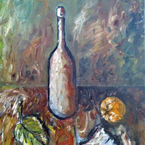 """Patrizio Arabito """"Natura morta con bottiglia"""" - Olio su tela - 50x70cm"""