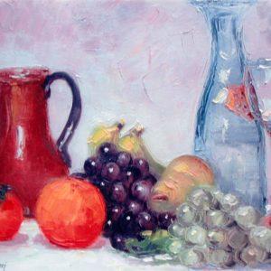 Natura morta con uva e bottiglia - Olio su tela a spatola e pennello - 40x30cm