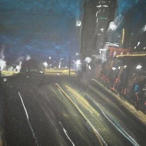 Notturno a Porta Susa - 30x40cm - Pastelli su cartoncino nero