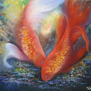 Pesci rossi, 80x90cm, olio su tela