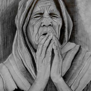 Preghiera, 32x44cm, matita di Massimiliano Isaia