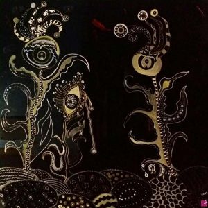 Parole rubate - Vetro dipinto a mano - 90x90cm
