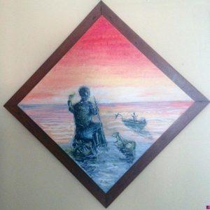 Ricordare di pescare le alici - Olio su tavola - 50x50cm