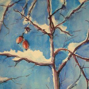Promuovere l'arte - Rosa d'inverno - 60x60cm - Acquerello di Ambretta Rossi