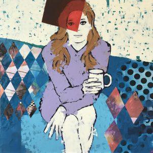Signorina - Acrilico e collage su pannello - 65x65cm