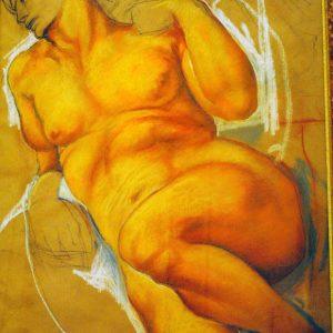 Studio di nudo - Saguigna su carta da spolvero - 60x70cm